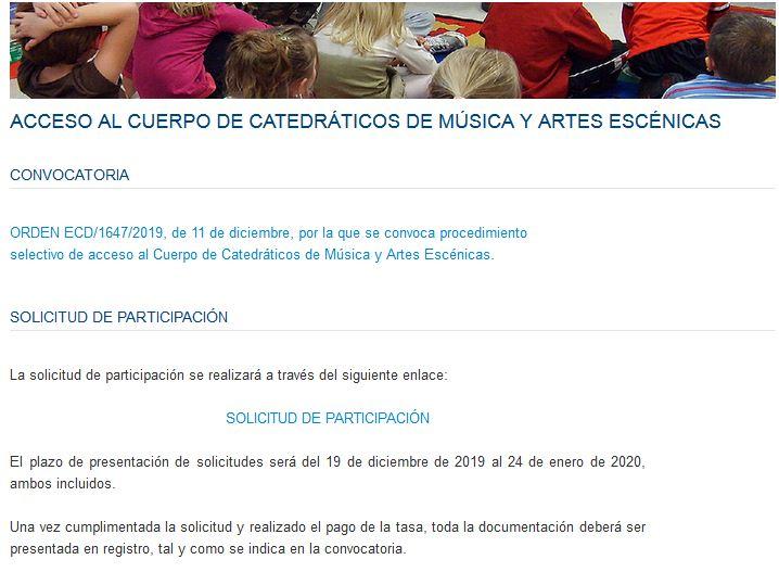 Acceso a la Convocatoria Cuerpo de Catedráticos de Música y Artes Escénicas