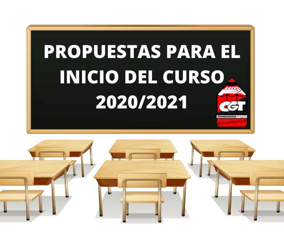 Propuestas desde CGT Enseñanza para el inicio del curso 20/21