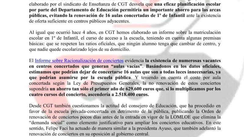 Al recreo, núm. 289  CGT reclama una gestión eficiente y cifra en más de 600.000 euros anuales el gasto en aulas concertadas innecesarias