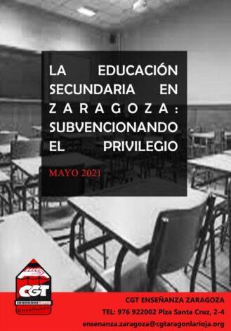 Informe 2021 sobre la Educación Secundaria en Zaragoza: subvencionando el privilegio