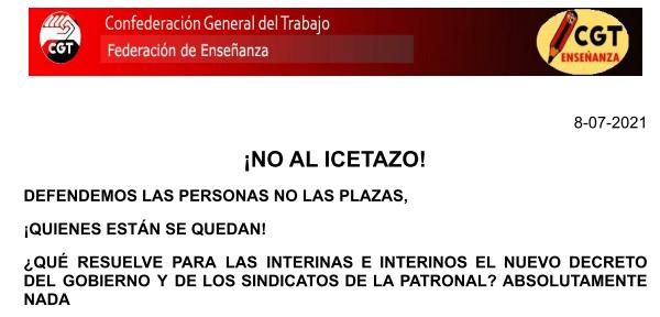 Comunicado de la Federación de Enseñanza de CGT sobre interinidad