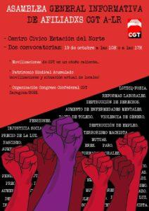 Asamblea de CGT Aragón-La Rioja @ Centro Cívico Estación del Norte
