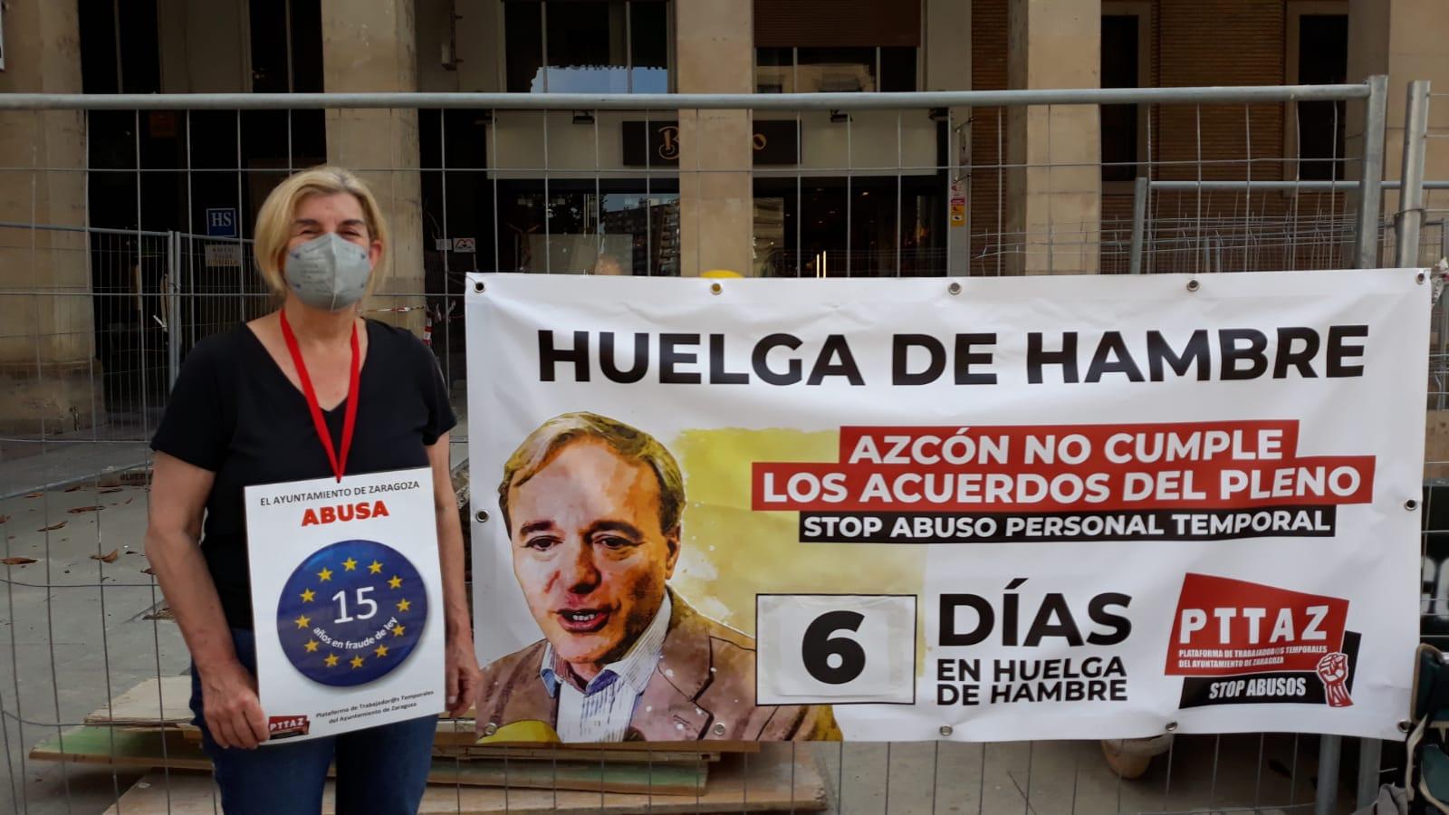 Diez días en huelga de hambre contra la temporalidad en el Ayuntamiento de Zaragoza