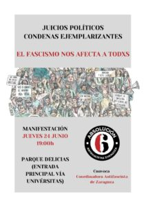Manifestación Absolución 6 de Zaragoza @ Parque Delicias (Entrada Vía Universitas)