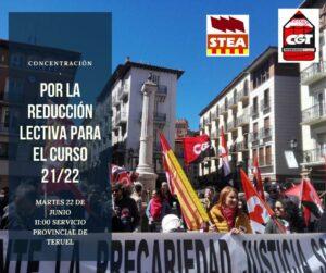 Concentración por la reducción lectiva para el curso 21/22 @ Servicio Provincial de Teruel