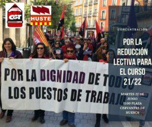 Concentración por la reducción lectiva para el curso 21/22 @ Plaza Cervantes