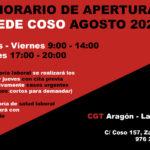 Horario sede CGT Coso Agosto 2021