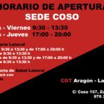 Horario sede CGT Coso 2021