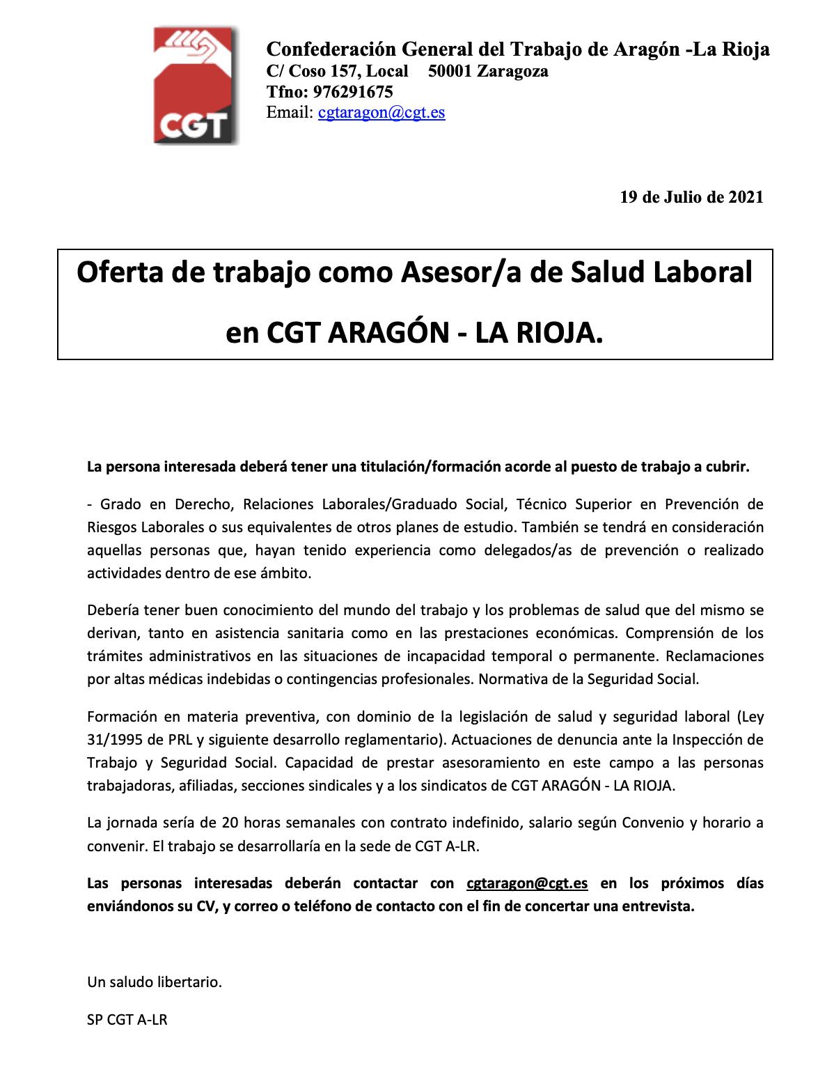 Oferta de trabajo en CGT Aragón – La Rioja