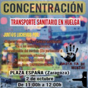Concentración: Transporte sanitario en huelga @ Plaza de España, Zaragoza