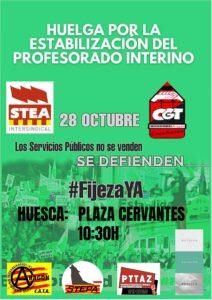 Huelga por la estabilización del profesorado interno @ Plaza de Cervantes, Huesca
