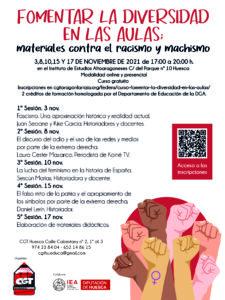 """5ª Sesión de """"Fomentar la diversidad en las aulas: materiales contra el racismo y machismo"""" @ Instituto de Estudios Altoaragoneses, también online"""