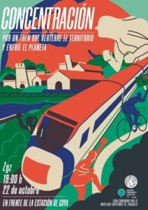 Concentración ZGZ Por un tren que vertebre el territorio y enfríe el planeta @ Frente a la estación Goya