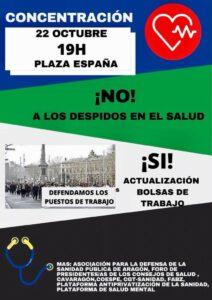 Concentración en rechazo a los ceses de personal en el Servicio Aragonés de Salud @ Plaza de España, Zaragoza