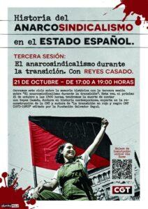 """III Sesión Historia del Anarcosindicalismo en el Estado Español. """"El anarcosindicalismo durante de la transición"""" @ ONLINE"""