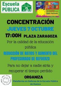 Concentración por la calidad de la educación pública @ Plaza Zaragoza, Huesca.