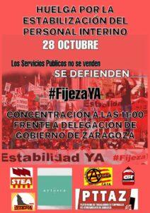 Huelga por la estabilización del profesorado interno @ Frente a la Delegación del Gobierno, Zaragoza