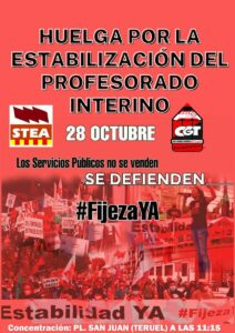 Huelga por la estabilización del profesorado interno @ Plaza de San Juan, Teruel